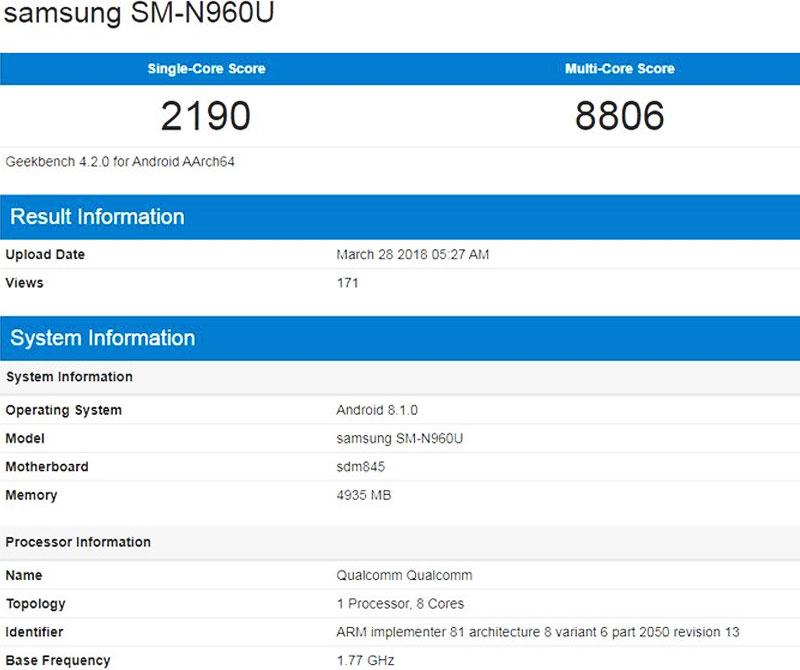 Thông số Galaxy Note 9 trên Geekbench