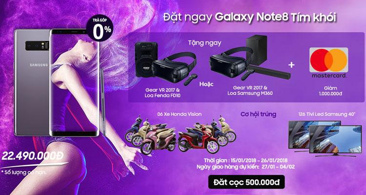 Đặt trước Galaxy Note 8 Tím Khói tại Nguyễn Kim để nhận quà tặng và ưu đãi hấp dẫn