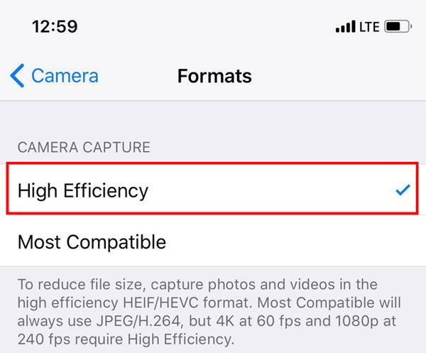 Định dạng High Efficiency được mặc định sử dụng trên iOS 11
