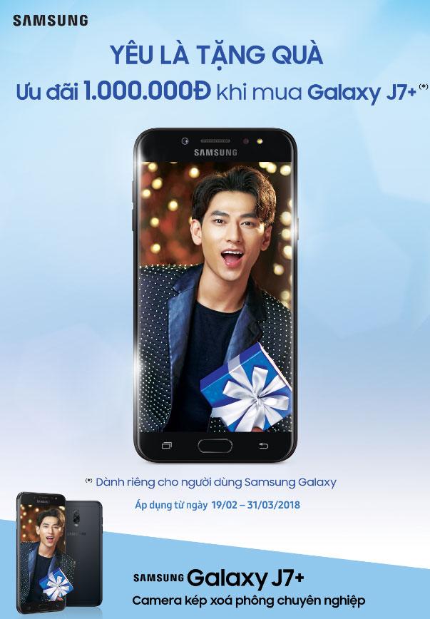 Nhận lì xì lên đến 1.000.000 đồng khi mua Galaxy J7+ tại Nguyễn Kim với mã ưu đãi trên ứng dụng Quà tặng Galaxy