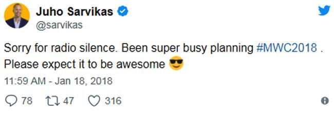 Thông tin sếp Nokia tiết lộ được đăng trên mạng xã hội Twitter