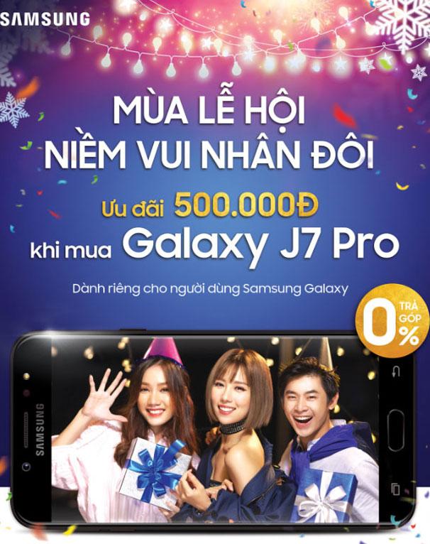 Mua Galaxy J7 Pro với mã ưu đãi trên ứng dụng quà tặng Galaxy tại Nguyễn Kim để được giảm giá và nhận thêm các khuyến mãi bất ngờ