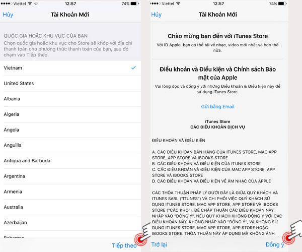 Chọn quốc gia Việt Nam -> Tiếp theo và sau khi đọc hết phần Điều khoản -> Đồng ý để tạo Apple ID cho iPhone