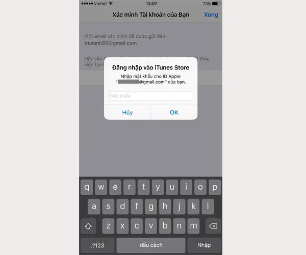 Sau khi điền đúng, bạn sẽ được quay lại Appstore, iPhone sẽ yêu cầu bạn đăng nhập vào Apple ID bạn vừa đăng kí. Bạn nhập mật khẩu vào để sử dụng Apple ID