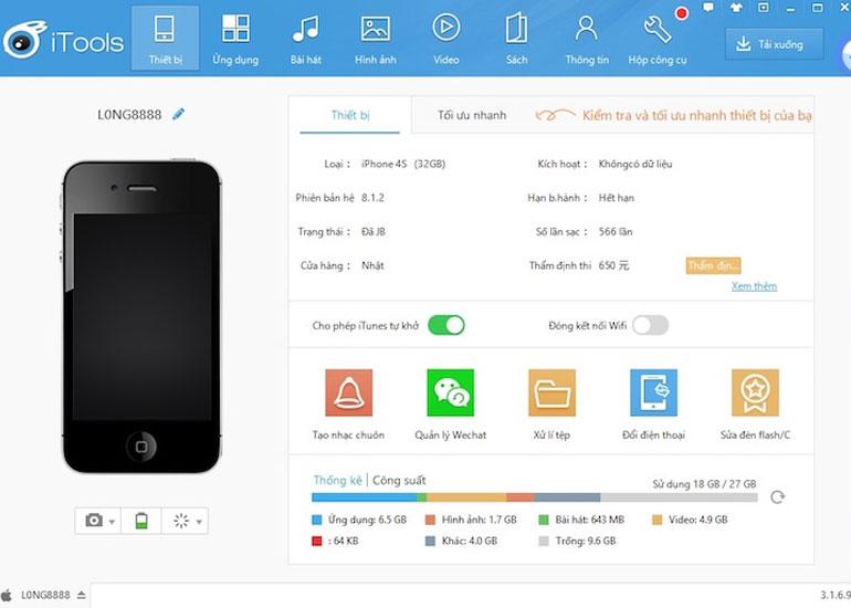 Ứng dụng iTools giúp bạn tắt nguồn dễ dàng mà không phải ấn phím