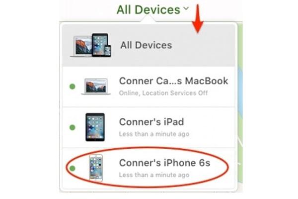 Chọn All Devices ở phía trên và nhấn vào chiếc iPhone đang bị mất của bạn.