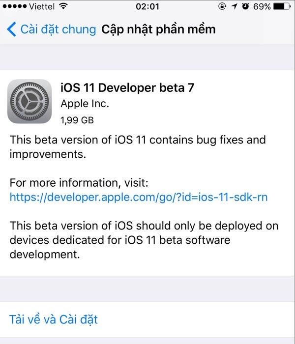 iOS 11 Beta 7 có dung lượng 2GB