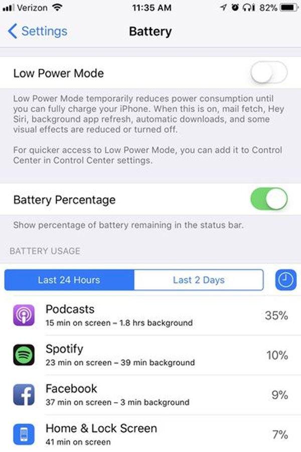 iOS 11 giúp xác định ứng dụng ngốn nhiều pin giúp bạn hạn chế được thời gian sử dụng cho lần sau