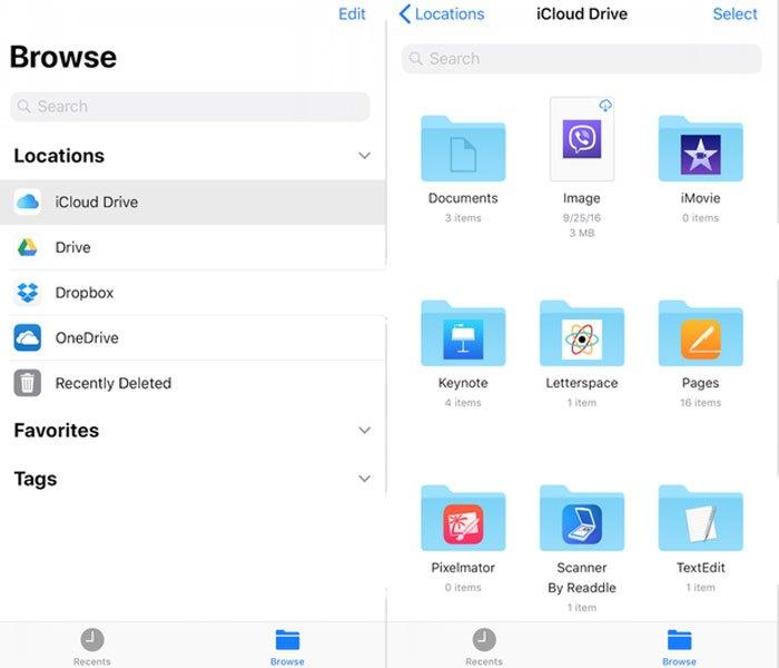 Ứng dụng có tên File mặc định trên iOS 11 sẽ cho phép người dùng iPhone quản lý các tập tin trên máy chủ điện toán đám mây dễ dàng.