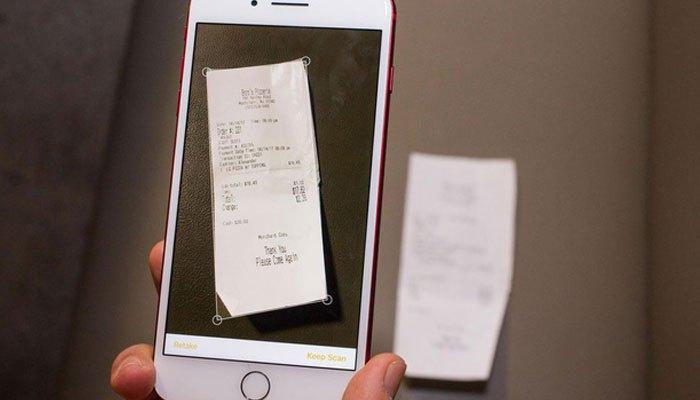 Hóa đơn và tài liệu sẽ được quay và lưu trữ trong ứng dụng Note một cách rõ ràng trên hệ điều hành iOS 11