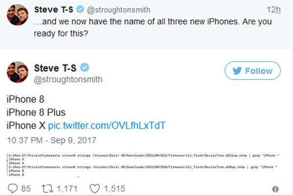 Tên gọi 3 chiếc iPhone được trình làng sắp tới đây đã được đăng tải trên mạng xã hội