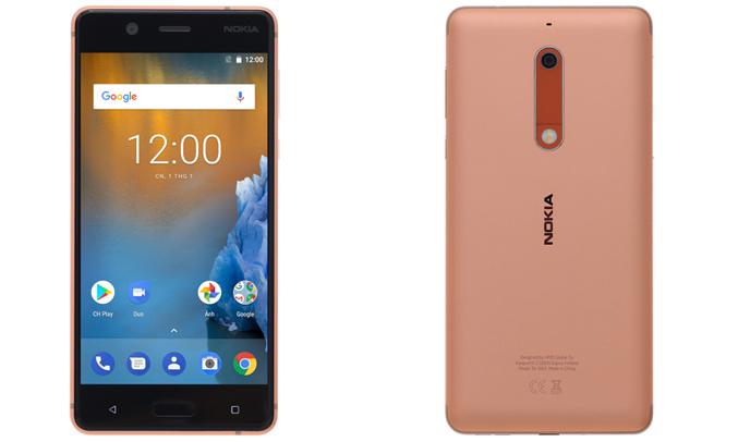 Điện thoại Nokia 5 màu đồng có thể chụp ảnh góc rộng
