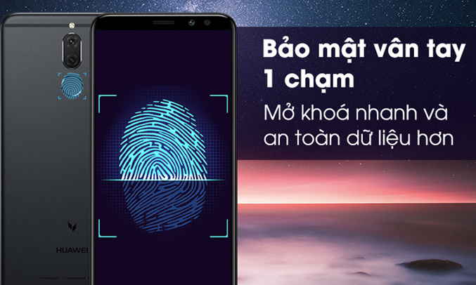 Huawei Nova 2l đen bảo mật vân tay một chạm