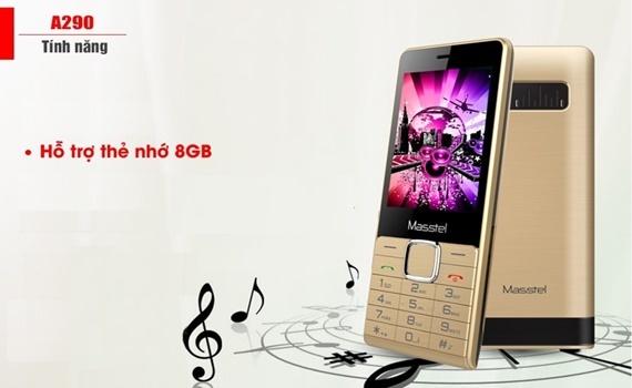 Điện thoại Masstel A290 màu vàng hỗ trợ khe gắn thẻ nhớ ngoài