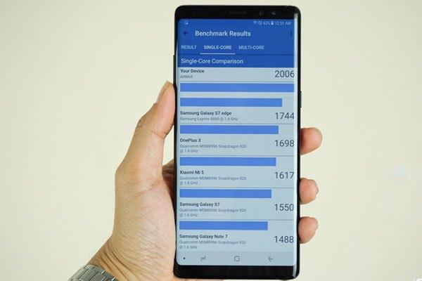 Galaxy Note 8 đạt được điểm số benchmark khá cao