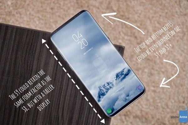 """Vẫn là màn hình tràn cạnh xu hướng nhưng có lẽ S9 và S9 Plus sẽ còn """"gọn gàng"""" hơn nữa với sự tối giản hoàn hảo 2 cạnh trên dưới"""