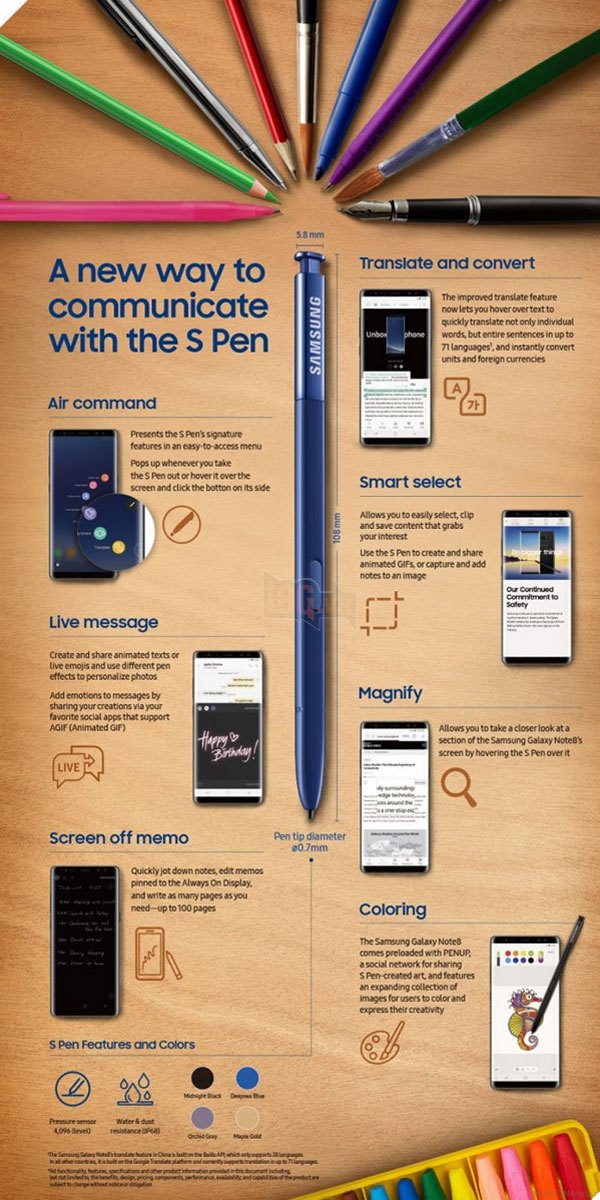Khi đến với Galaxy Note 8, S Pen đã được Samsung nâng cấp lên một đỉnh cao mới với những tính năng tuyệt vời
