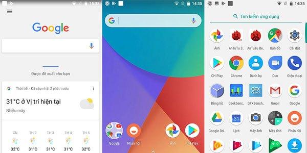 Giao diện màn hình chính trên Mi A1: Google Now (được mở bằng cách quét tay từ bên phải màn hình chính), màn hình Home và danh sách ứng dụng