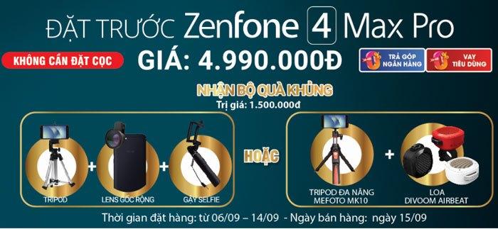 Quà tặng siêu hấp dẫn khi đặt trướcASUS ZenFone 4 Max Pro đừng bỏ lỡ bạn nhé!