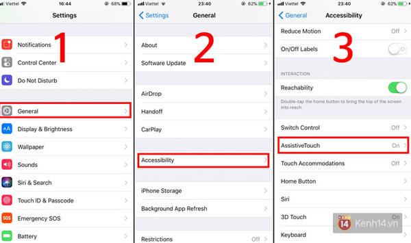 Dùng Assistive Touch để restart iPhone X