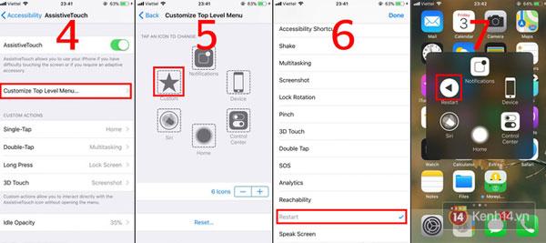 """Làm theo những bước này để """"gán"""" phím Restart vào một ô của Assistive Touch. Sau đó, mỗi lần bạn muốn khởi động lại, chỉ cần bật danh sách của phím Home ảo lên và chọn ô Restart trên iPhone X mà thôi."""