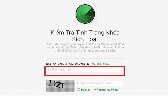 Nhập số IMEI hoặc Serial vào dải ô trắng để kiểm tra tình trạng iCloud