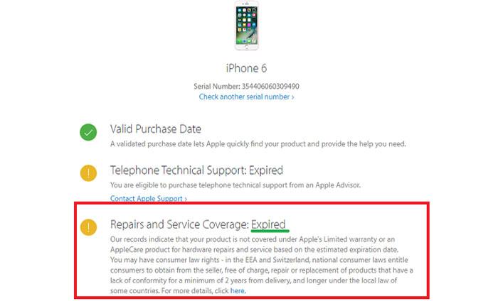 Trang kết quả sẽ hiển thị cho bạn biết tình trạng bảo hành của iPhone