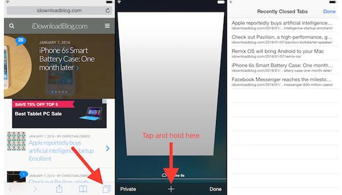 """Để khôi phục tab Safari trên điện thoại iPhone bạn hãy nhấn dấu """"+"""""""