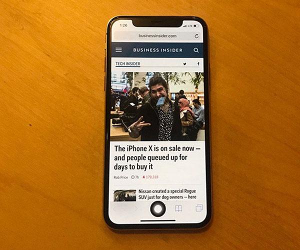 Nút Home ảo của iPhone X sẽ nằm ở vị trí tương tự nút Home cứng