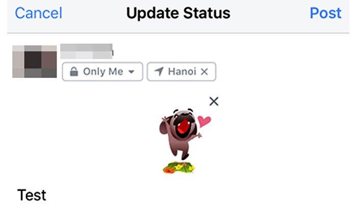 Chọn hình sticker yêu thích và đăng trạng thái trên Facebook