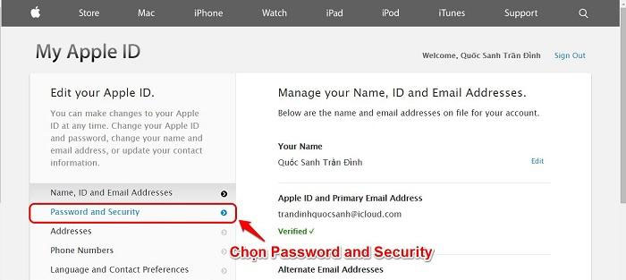 Chọn Password and Security.