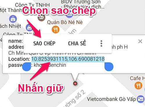 Chép đoạn địa chỉ để tìm đường đến điểm truy cập WiFi