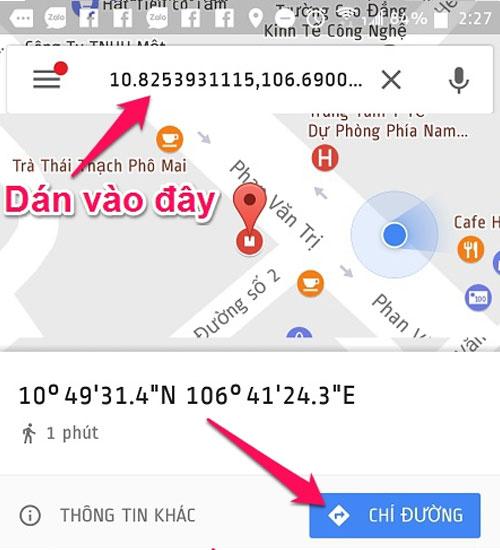 Nhập đoạn địa chỉ vừa chép được vào ứng dụng Google Maps để tìm đường đến điểm truy cập WiF