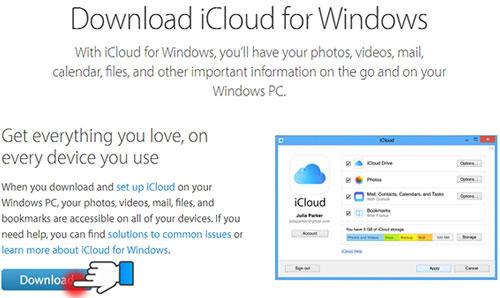 """Đầu tiên, bạn hãy tải ứng dụng""""iCloud Control Panel"""" từ tranghttp://support.apple.com/kb/DL1455về máy tính."""