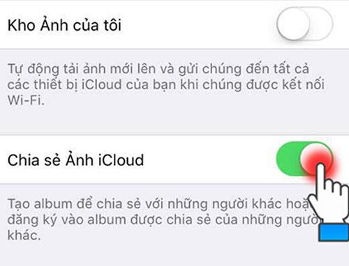 Bật tính năng Chia sẻ Ảnh iCloud.