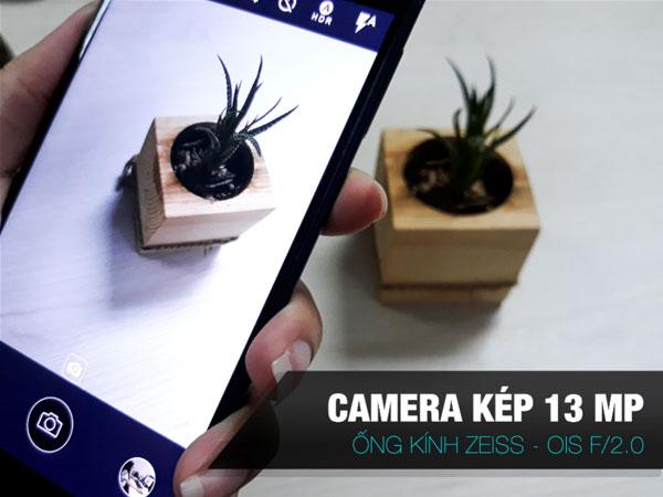 Mặt sau Nokia 8 là camera kép độ phân giải 13 MP ống kính Zeiss. 1 camera màu và 1 camera đen trắng, tính năng chống rung quang học (OIS) và khẩu độ F/2.0.