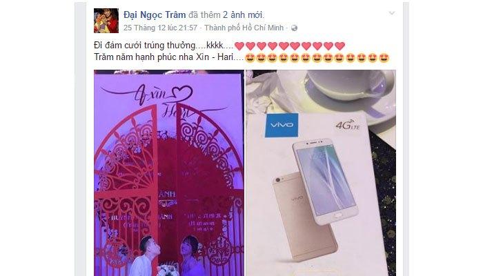 Đám cưới Trấn Thành xuất hiện điện thoại Vivo