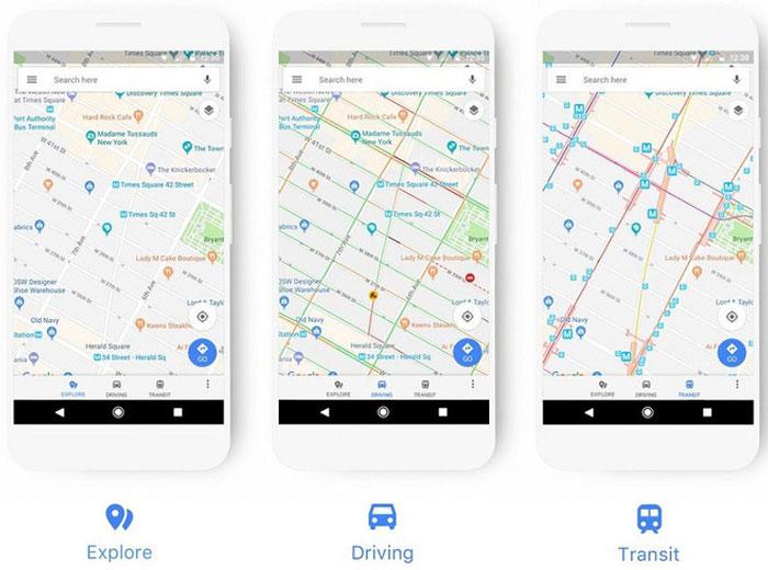 Đây là khung điều hướng chuẩn trong Google Maps sau khi cập nhật phiên bản mới.
