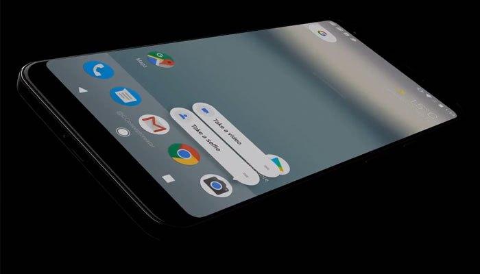 Mặt trước của concept điện thoại Google Pixel 2 XL khá tương tự Galaxy S8 và LG G6 với viền màn hình siêu mỏng, tỷ lệ hiển thị 18:9.