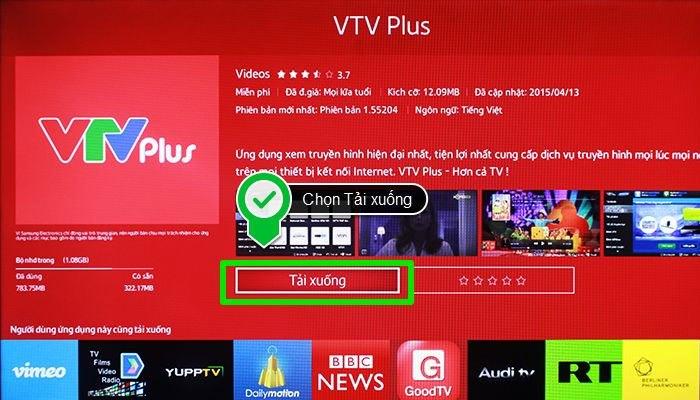 Tiếp đến tải ứng dụng VTV Plus về tivi.