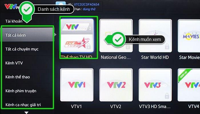"""Sau đó lựa mục """"Tất cả kênh"""" để chọn kênh cần xem trên Smart tivi"""