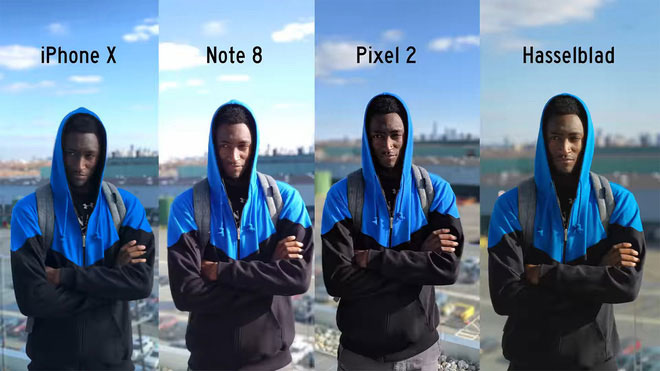 iPhone X và Note8 sử dụng ống kính tele và ống kính góc rộng để lập bản đồ chiều sâu trường ảnh nhằm tìm ra những gì nằm ở tiền cảnh