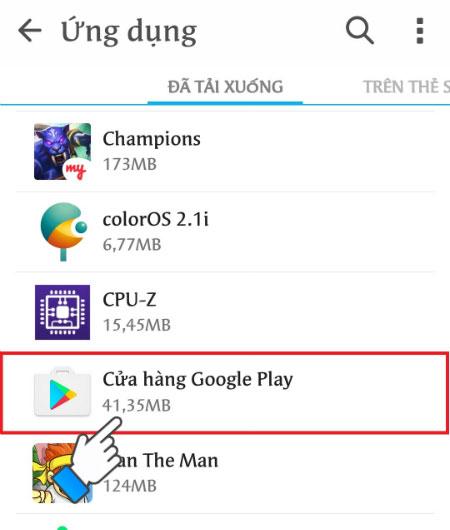 Nhấn chọn vào Cửa hàng Google Play.