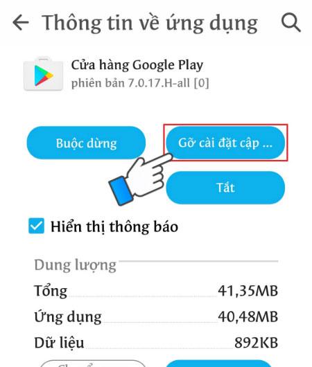 Chọn Gỡ cài đặt cập nhật cho ứng dụng CH Play
