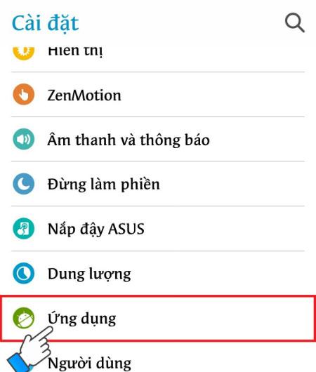 Tiếp đến, bạn xóa cache của Dịch vụ Google Play. Vào Cài đặt, chọn Ứng dụng.
