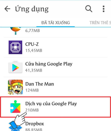 Tìm đến Dịch vụ của Google Play, nhấn chọn.