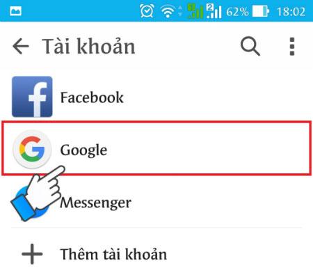 Nhấn vào Google.