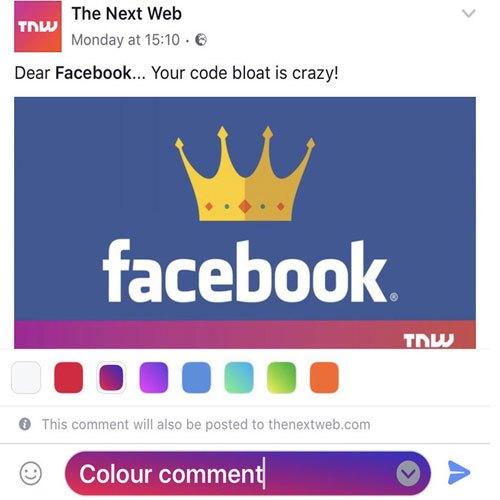 Bình luận trên Facebook sẽ có phông màu sặc sỡ