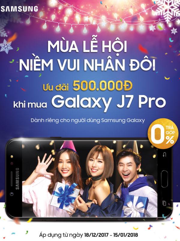 Mua Galaxy J7 Pro với mã ưu đãi quà tặng Galaxy tại Nguyễn Kim để được giảm giá và nhận thêm các khuyến mãi bất ngờ