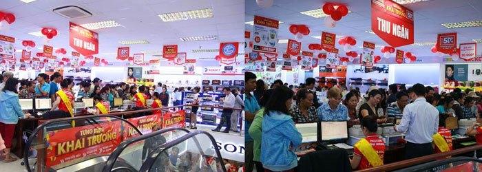 Các tầng tại Nguyễn Kim Nguyễn Duy Trinh khách hàng đến mua sắm tấp nặp